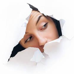 Peeking through split paper